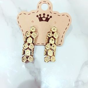 Gold Tone Vintage Statement Earrings